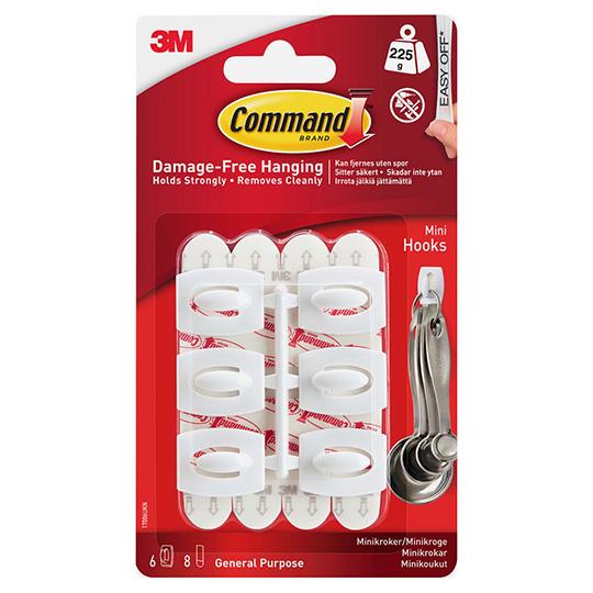 3M Command Hooks Mini Clear 6 Hooks