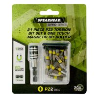 SPEARHEAD PRO PZ2 Torsion Bits Set w/Magnetic Bit Holder 25mm