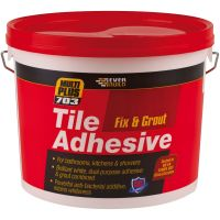 Everbuild 703 Fix & Grout Ready Mixed Tile Adhesive White 3.75kg
