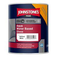 Johnstones Aqua Water Based Gloss Paint Brilliant White 1L