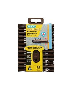 Plasplugs Originals Concrete Fixings Brown 7mm Pack of 50