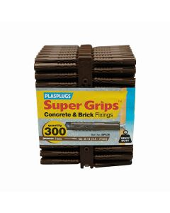 Plasplugs Super Grips Concrete Fixings Brown 7mm Pack of 300