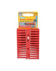 PLASPLUGS Red Super Grips Plugs Pk100 6mm