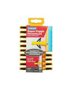 Plasplugs Super Toggle Plasterboard Fixings Pack of 20