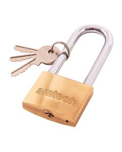 Amtech Polished Brass Longshackle Padlock 50mm