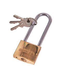 Amtech Polished Brass Longshackle Padlock 38mm