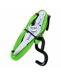 Jumbo Ratchet Tie Down Medium Duty S Hooks 250kg Green 4m