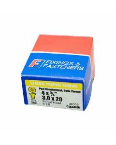 Twinthread Pozi Screws EB 3/4in x 4 Box of 200