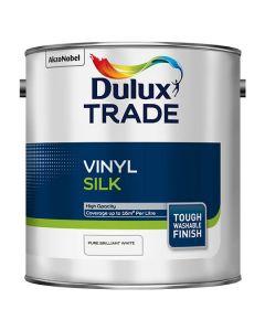 Dulux Trade Vinyl Silk Emulsion Paint Pure Brilliant White 2.5L