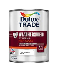 DULUX Trade Weathershield Ext Gloss 1L B/White 3