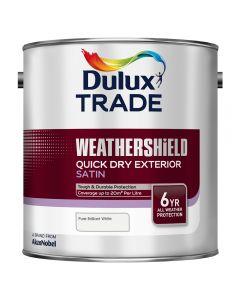 DULUX Trade Weathershield Ext Q/D Satin 2.5L B/White