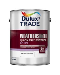 DULUX Trade Weathershield Ext Q/D Satin 5L B/White