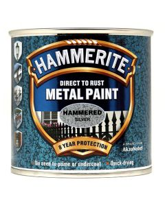 Hammerite Metal Paint Hammered Finish Silver Grey 250ml