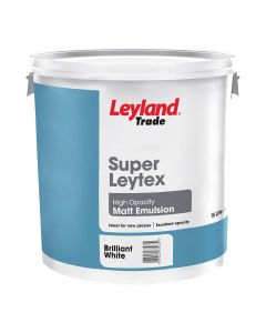 Leyland Trade Super Leytex Matt Emulsion Paint Brilliant White 15L