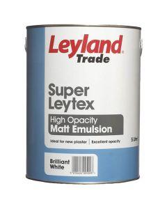 Leyland Trade Super Leytex Matt Emulsion Paint Brilliant White 5L