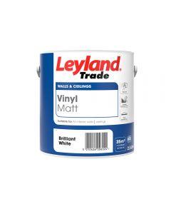 Leyland Trade Vinyl Matt Emulsion Paint Brilliant White 2.5L