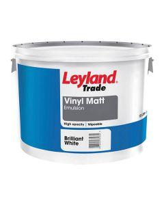 Leyland Trade Vinyl Matt Emulsion Paint Brilliant White 10L