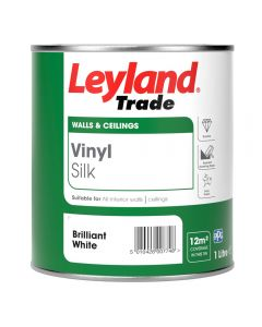 Leyland Trade Vinyl Silk Emulsion Paint Brilliant White 1L