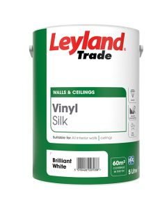 Leyland Trade Vinyl Silk Emulsion Paint Brilliant White 5L