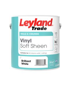 Leyland Trade Vinyl Soft Sheen Emulsion Paint Brilliant White 2.5L