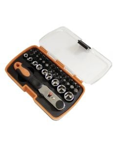 Tactix Bits & Socket Set w/Ratchet Driver Spanner 38 Pcs