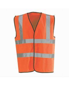 Hi-Vis Waistcoat Fluorescent Scotchtape Orange Large