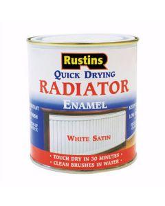 Rustins Quick Dry Enamel Radiator Paint Satin White 500ml