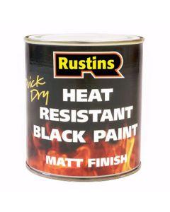 Rustins High Heat Resistant Paint Matt Black 500ml