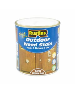 Rustins Quick Dry Outdoor Wood Stain Satin Medium Oak 500ml