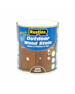 Rustins Quick Dry Outdoor Wood Stain Satin Walnut 500ml