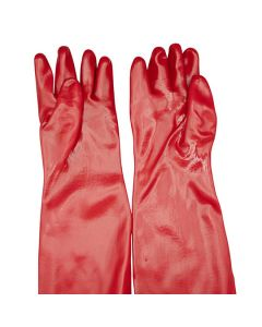 Gauntlet Type Gloves PVC Long Heavy Duty Red 70cm Size 10