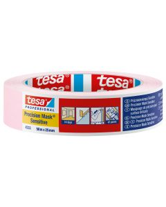 Tesa Precision Masking Tape Sensitive Pink 25mm x 50m Roll