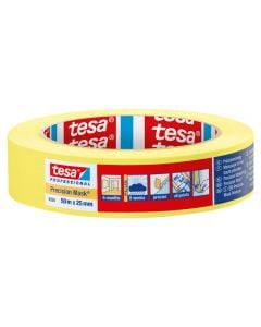 Tesa Precision Masking Tape Yellow 25mm x 50m Roll