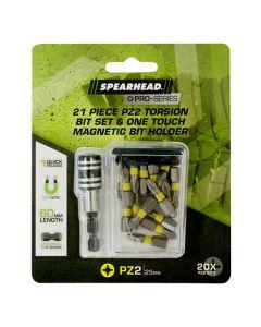SPEARHEAD PRO PZ2 Torsion Bits Set w/Magnetic Bit Holder 25mm