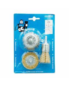 Rotary Brass Wire Brush Mixed Set 3pcs