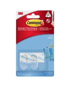 3M Command Hooks Small Clear 2 Hooks