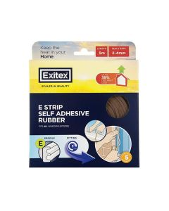 Draught Excluder EPDM E Rubber Tape Brown 5m