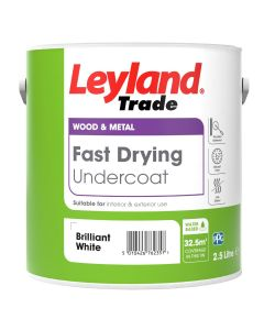 Leyland Trade Fast Drying Undercoat Paint Brilliant White 2.5L