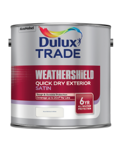 Dulux Trade Weathershield Quick Dry Exterior Satin Pure Brilliant White 2.5L