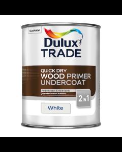 Dulux Trade Quick Dry Wood Primer Undercoat Paint White 1L