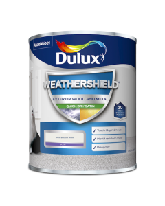 Dulux Weathershield Quick Dry Exterior Satin Pure Brilliant White 750ml