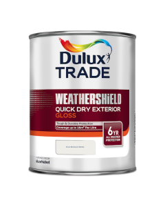 Dulux Trade Weathershield Quick Dry Exterior Gloss Pure Brilliant White 1L