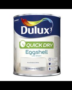 Dulux Quick Dry Eggshell Paint Pure Brilliant White 750ml