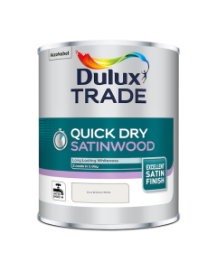 Dulux Trade Quick Dry Satinwood Paint Pure Brilliant White 1L