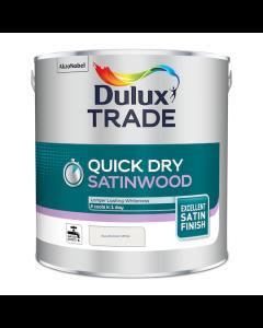 Dulux Trade Quick Dry Satinwood Paint Pure Brilliant White 2.5L