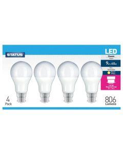 Status Bulb LED GLS BC B22 9W Pack of 4