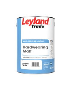 Leyland Trade Hardwearing Matt Paint Brilliant White 5L