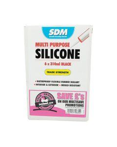 SDM Multi Purpose Silicone Sealant Black 310ml Box of 6