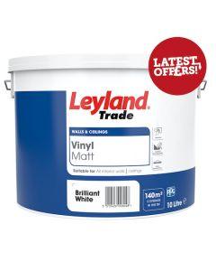 Leyland Trade Vinyl Matt 10L Brilliant White