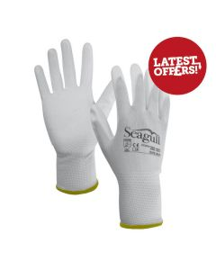Seagull Gloves Polyester PU Palm Coated White Size 8